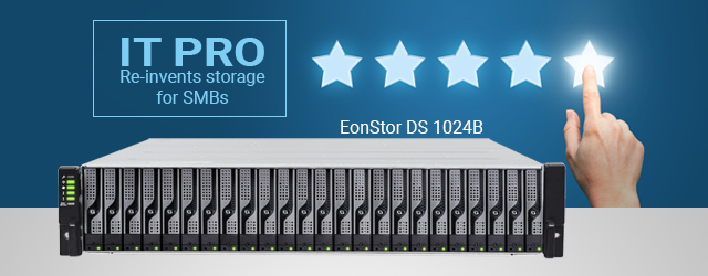 IT Pro gives the small form factor EonStor DS 1024B a 5-star review