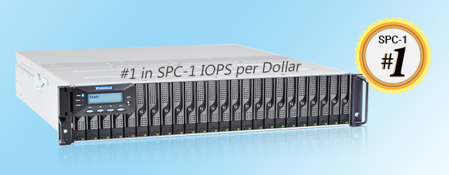 EonStor DS 3024B ranked #1 in the SPC-1 results for having the best IOPS per dollar ratio