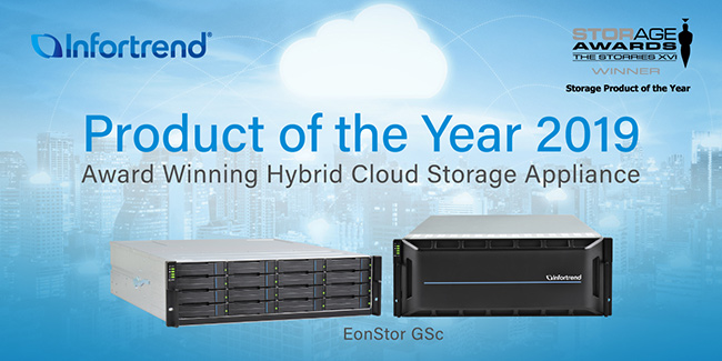 "Infortrend's EonStor GSc Hybrid Cloud Storage Is Awarded ""Product of the Year"" by Storage Magazine"